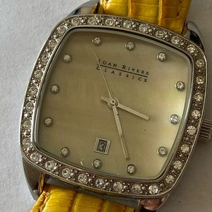 Joan Rivers Yellow Leather Mother of Pearl Watch